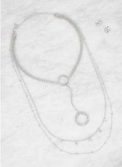 Layered Necklace and Rhinestone Stud Earrings - 3138057697600