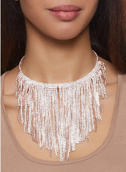 Rhinestone Fringe Collar Necklace with Stud Earrings - 3138059632182