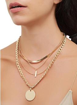 Metallic Chain Layered Necklace - 3138062810714