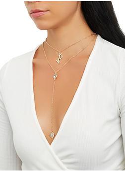 Layered Metallic Charm Necklace - 3138062811075