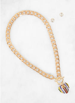 Multi Color Heart Curb Chain Necklace with Stud Earrings - 3138062815191