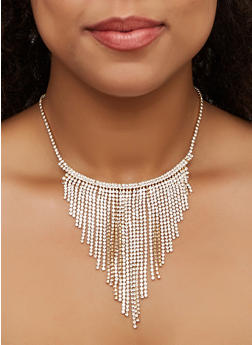 Rhinestone Fringe Bib Necklace - 3138062816443