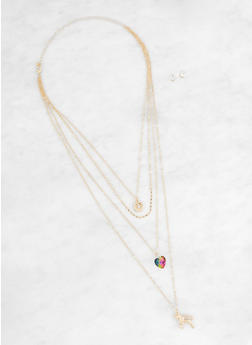 Layered Charm Necklace and Stud Earrings Set - 3138062819474