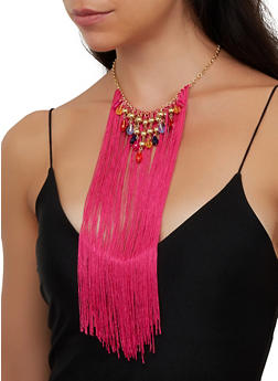 Fringe Beaded Bib Necklace - 3138062920169