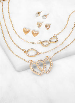 Infinity Rhinestone Charm Necklace with Stud Earrings - 3138062920343