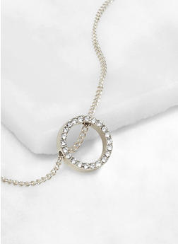 Rhinestone Metallic Circle Pendant Necklace - 3138062920366