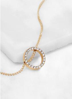 Rhinestone Metallic Circle Pendant Necklace - 3138062920366