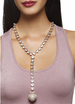 Rhinestone Drop Necklace with Stud Earrings - 3138062920625
