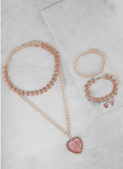 Heart Necklace with Bracelets and Stud Earrings - 3138062920872