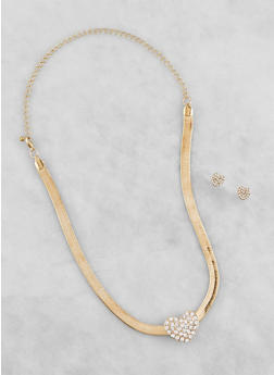 Snake Chain Charm Necklace with Stud Earrings - 3138062921056