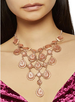 Metallic Bib Necklace with Teardrop Earrings - 3138062921131