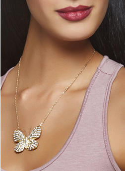 Butterfly Necklace and Stud Earrings Set - 3138062921229