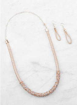 Druzy Detail Metallic Thread Necklace and Earrings - 3138062921231