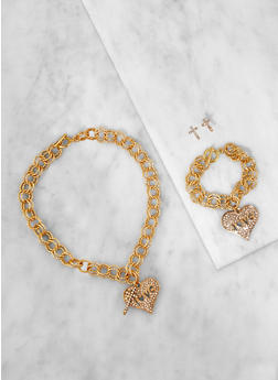 Heart Charm Necklace with Bracelet and Earrings - 3138062921319
