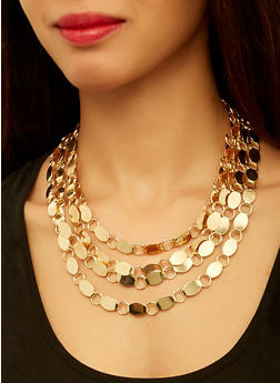Layered Link Necklace with Bracelet and Earrings - 3138062921341
