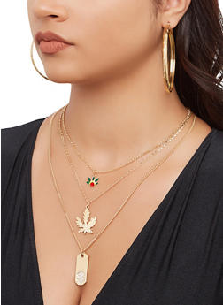 Leaf Charm Layered Necklace and Hoop Earrings - 3138062921386