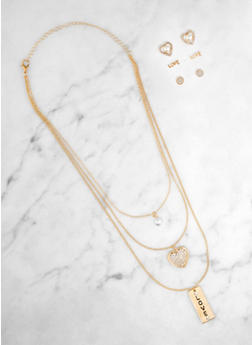 Love Charm Layered Necklace with Stud Earring Trio - 3138062921404