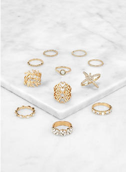 Heart Leaf Rings Set - 3138062921615