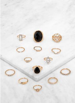 Rhinestone Metallic Rings - 3138062921641