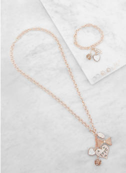 Metallic Charm Necklace and Bracelet with Stud Earrings - 3138062921957