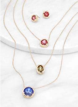 Layered Gem Necklace and Stud Earrings - 3138062922450