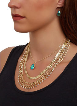 Multi Chain Necklace and Gem Drop Earrings - 3138062922466