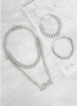 Love Curb Chain Necklaces with Bracelets and Earrings - 3138062922569