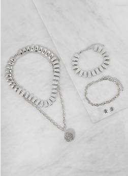 Chain Necklace with Bracelets and Stud Earrings - 3138062922754