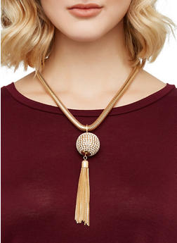 Disco Ball Coil Necklace with Stud Earrings - 3138062923293