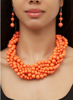 Twist Beaded Necklace and Drop Earrings - 3138062923362
