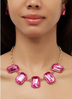 Neon Jeweled Necklace and Stud Earrings - 3138062923832
