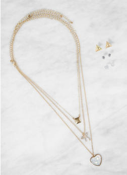Charm Layered Necklace with Stud Earrings - 3138062924143