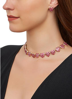 Rhinestone Heart Choker Necklace and Stud Earrings - 3138062924304