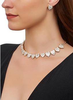 Rhinestone Heart Choker Necklace and Stud Earrings - 3138062924304