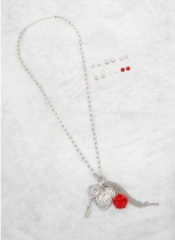 Metallic Charm Necklace and Stud Earrings - 3138062924801