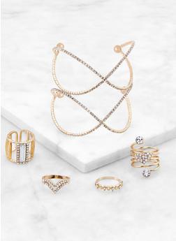 Criss Cross Rhinestone Cuff and Rings - 3138062924838