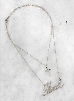 Blessed Layered Necklace with Stud Earrings - 3138062925262