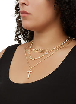 Blessed Charm Necklaces with Stud Earrings - 3138062925515