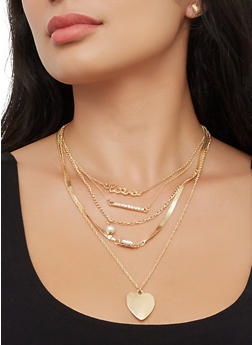 Layered Faux Pearl Chain Necklace with Stud Earring Trio - 3138062926011