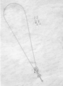 Key Charm Necklace with Stud Earring Trio - 3138062926256