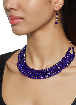 Beaded Collar Necklace and Drop Earrings - 3138062926418