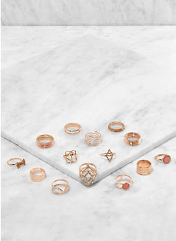 Set of Assorted Metallic Rings - 3138062926514