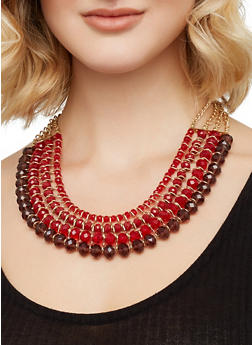Multi Row Beaded Necklace and Drop Earrings Set - 3138062926880