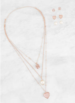 Layered Charm Necklace with Stud Earrings Trio - 3138062927616