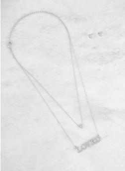 Rhinestone Layered Necklace with Earrings - 3138062927773