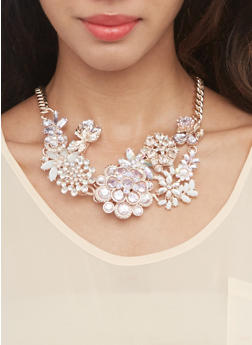 Chunky Flower Necklace and Earrings Set - 3138062928084