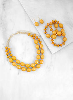 Layered Bead Necklace with Stretch Bracelets and Drop Earrings - 3138062928238