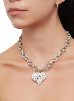 Love Heart Charm Necklace and Bracelet with Cross Earrings - 3138062929131