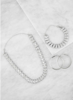 Glitter Necklace and Bracelet with Hoop Earrings - 3138062929354