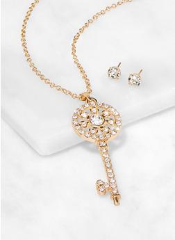 Rhinestone Key Pendant Necklace and Stud Earrings - 3138063090249
